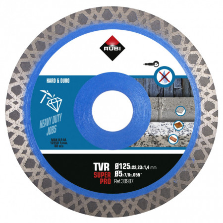 Disc diamantat pt. materiale foarte dure 125mm, TVR 125 SuperPro - RUBI-30987