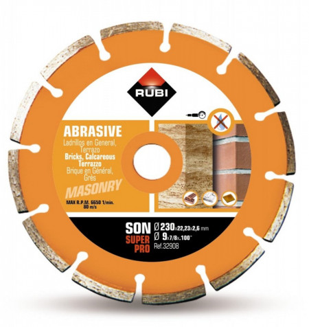 Disc diamantat pt. materiale abrazive 230mm, SON 230 SuperPro - RUBI-32908