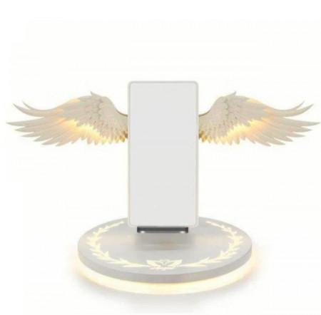 Incarcator wireless cu aripi de inger, culoare alb, putere 10 W