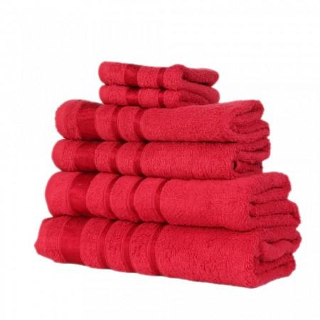 Set de 6 prosoape 100% bumbac Pakistanez, culoare rosu
