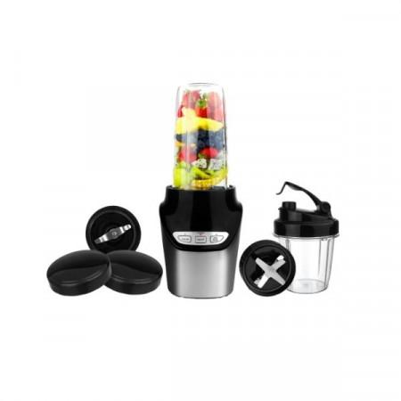 Blender Hausberg, 1000 W, 2 recipiente 0.45 l + 1 l, 2 viteze, Pulse, Negru/Inox