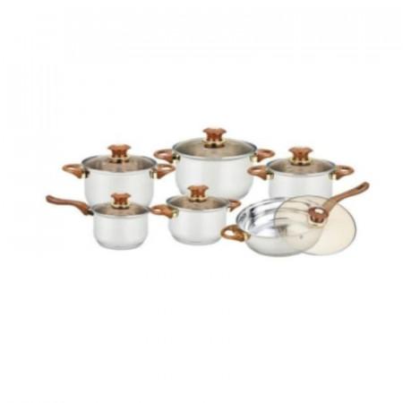 Set 12 piese, 6 oale inox si 6 capace sticla termorezisenta, GR-1504