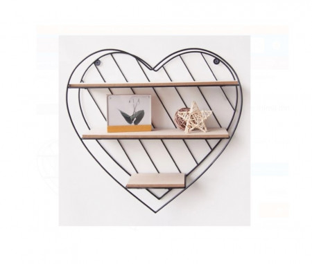 Raft decorativ 3 niveluri, in forma de Inima, dimensiune 33,5 x 9,5 x32 cm