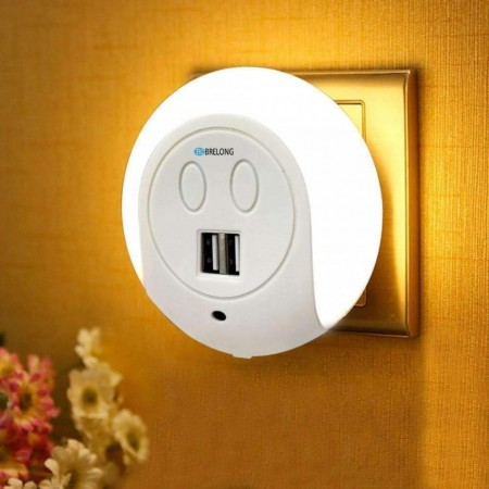 Lumina de noapte cu senzor si 2x port usb