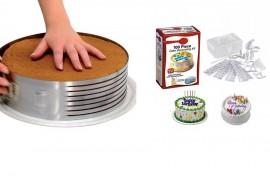 Setul cofetarului-Feliator reglabil pentru blat de tort 16 si 20 cm + Set 100 piese pentru decorarea torturilor si al prajiturilor