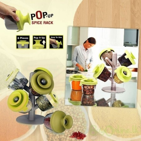 Suport condimente Pop-Up Spice Rack cu 6 recipiente