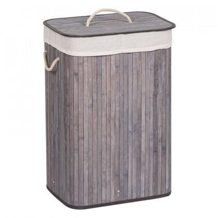 Coș de rufe din bambus cu capac, culoare Grey Blue, 72 litri, 40x30x60 cm