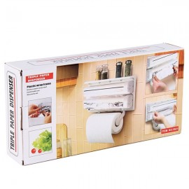 Dispenser triplu pentru bucatarie, folie aluminiu, folie strech, prosoape hartie