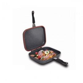 Tigaie dubla Easy Cook, dreptunghiulara, grill, aluminiu,  34X26X9 cm
