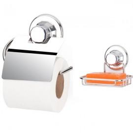 Set cromat suport hartie igienica si suport pentru sapun cu ventuze