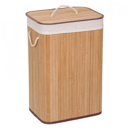 Coș de rufe din bambus cu capac, culoare lemn natur