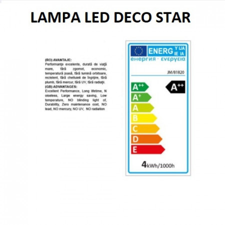 Set 2 lămpi decorative Star, 4W, E27