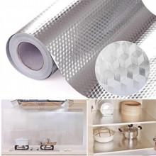 Folie de aluminiu autoadeziva bucatarie 60 x 300 cm, culoare argintiu