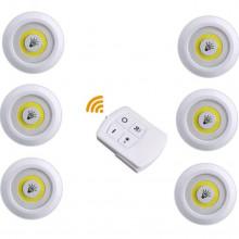 Set 6 spoturi LED cu telecomanda, prindere cu banda dublu adeziva, 2 trepte de iluminare