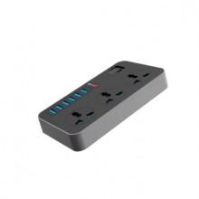 Prelungitor cu 3 prize si 6 USB 3.1A, protectie supratensiune, cablu de 1.6m