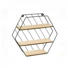 Raft decorativ 3 niveluri, in forma Hexagonala, dimensiune 35 x 9 x 30,5 cm