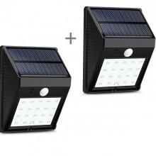 Set 2 Lampi cu incarcare solara si senzor de lumina/miscare,30 LED-uri