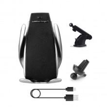 Suport auto cu incarcare wireless,smart sensor negru,S5 2 in 1,prindere ventilatie sau cu ventuza