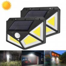 Set 2 lampi cu 100 led-uri COB si incarcare solara