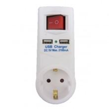 Adaptor priza, buton ON/OFF, 2 x USB, culoare alb
