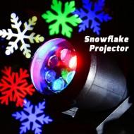 Proiector joc de lumini colorate sub forma unor fulgi de zapada, pentru exterior