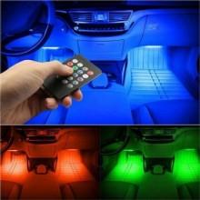 Kit iluminat ambiental LED pentru interiorul masinii cu 8 culori RGB si telecomanda
