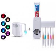 Lampa pentru vasul de toaleta+Dozator pasta cu suport pentru periute