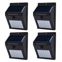 Set 4 Lampi cu incarcare solara si senzor de lumina/miscare,30 LED-uri