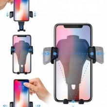 Suport pentru telefon Gravity Black, cu prindere la grila de ventilatie