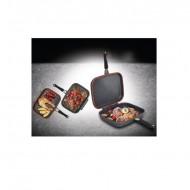 Tigaie dubla Easy Cook, dreptunghiulara, grill, aluminiu, 32X24X7,5 cm