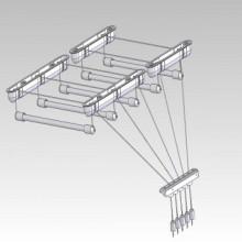 Uscator de rufe, metalic, cu 5 linii de 1,6m cu prindere pe tavan
