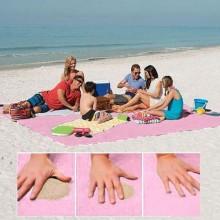 Cearsaf special pentru plaja ce nu retine nisipul, dimensiune 200x200cm, culoare ROZ