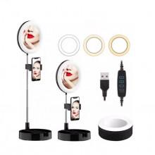 Oglinda de machiaj cu lampa si suport de telefon