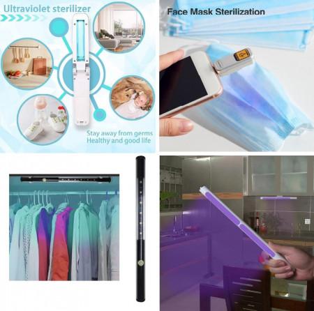 Lampa Ultraviolete Portabila UVC Germicida HH1, 2W, 253.7 nm Dezinfectare, Sterilizare, Bactericida, Tub Quartz UVC
