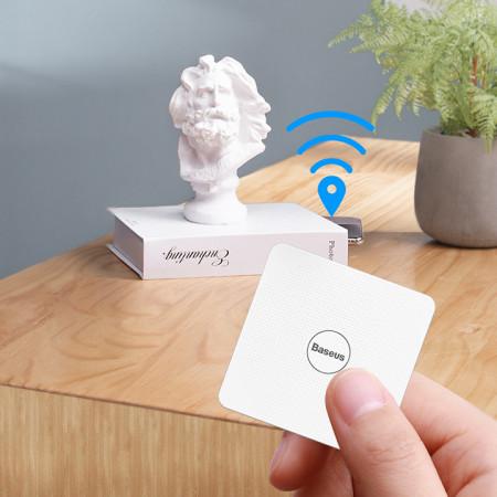 Card Antifurt Baseus-T1 Mini Flat Type Anti-loss Cu Localizator GPS Si Alarma Anti-pierdere - White