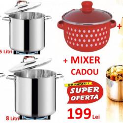 SET: Oale inox 8 piese + Vase inox 10 piese + Oala emailata Vanora + CADOU un Mixer!