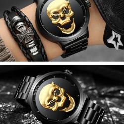 Ceas de lux barbatesc 2019, cuart, model CRANIU - negru