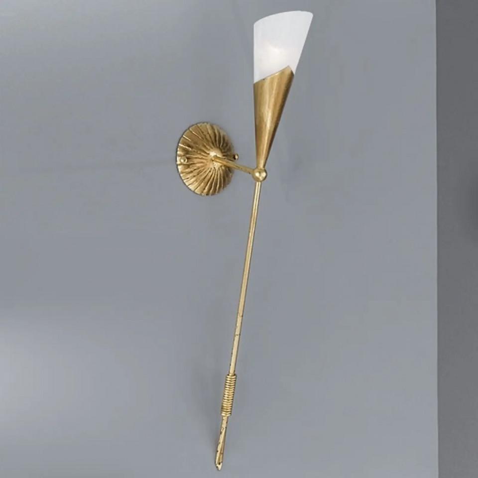 Aplica Fackel, metal/sticla, aurie, 12 x 83 x 30 cm imagine 2021 chilipirul zilei