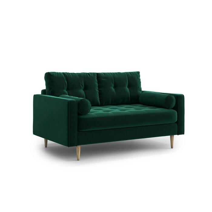 Canapea cu 2 locuri, lemn masiv, verde, 85,00 x 148 x 92 cm