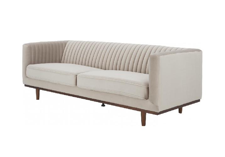 Canapea cu 3 locuri din catifea bej Dante, 210 x 72 cm chilipirul-zilei 2021