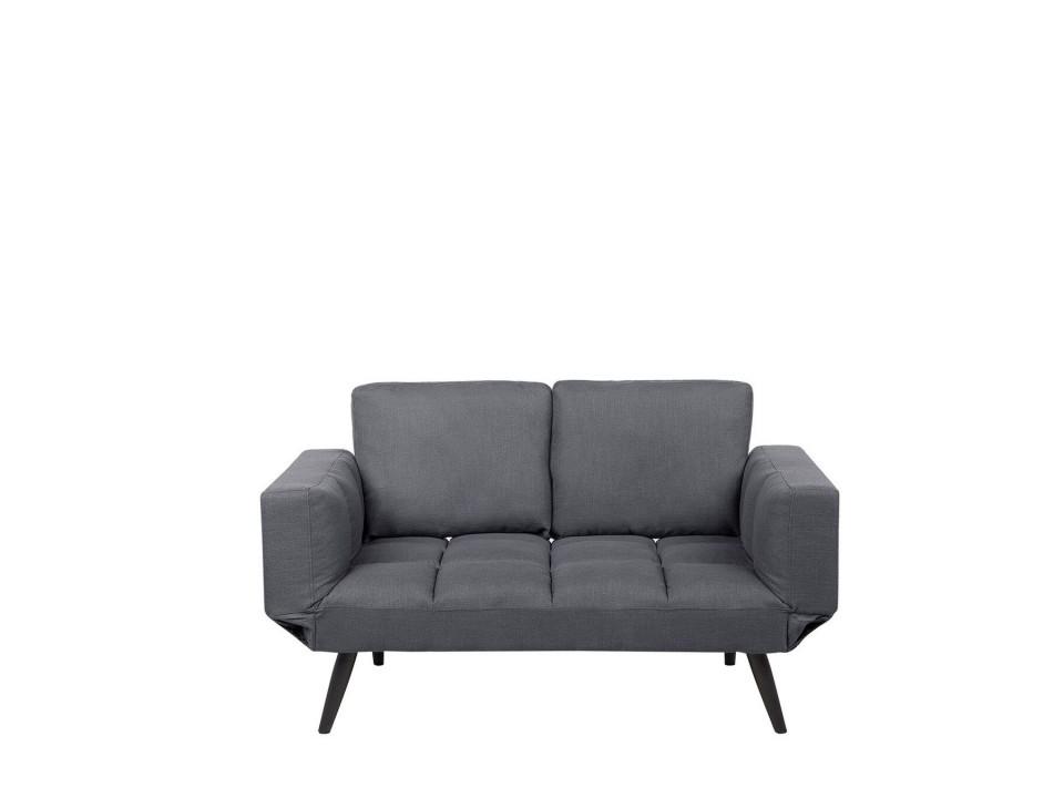 Canapea extensibila BREKKE, lemn/poliester, gri inchis, 90 x 167 x 75 cm