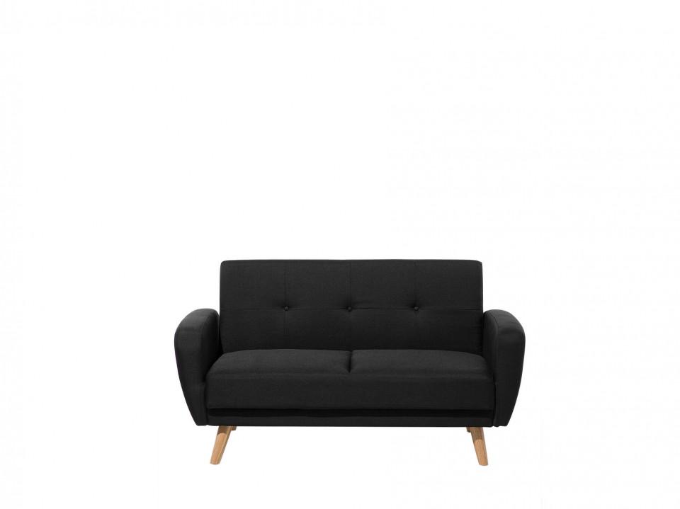 Canapea extensibila FLORLI, lemn/poliester, neagra, 82 x 155 x 85 cm