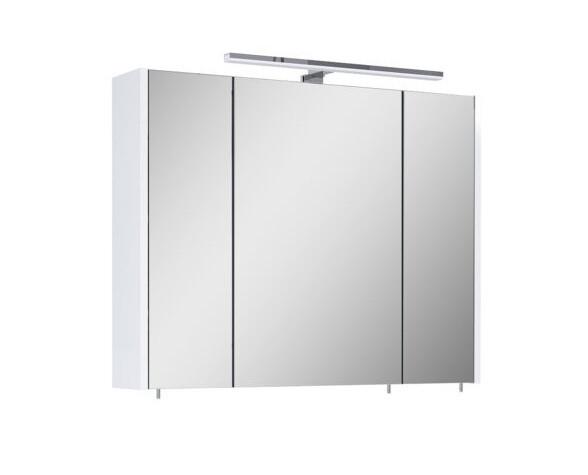 Dulap cu oglindă, iluminat, lemn, alb, 61,8 x 80 x 20,2 cm poza chilipirul-zilei.ro