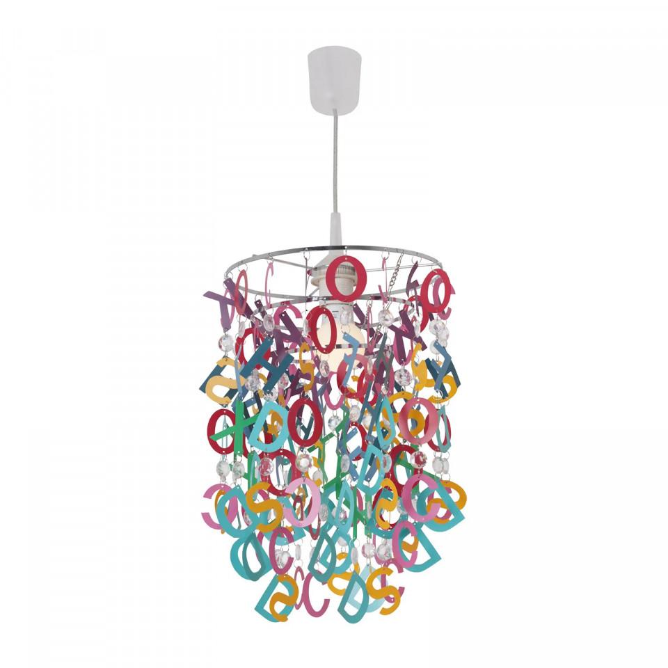 Lustra tip pendul Richelle, metal/sticla, multicolora, 40 x 20 cm, 60w poza chilipirul-zilei.ro