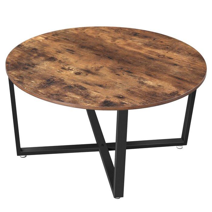 Masă de cafea Amery, metal/lemn, maro, 47 x 88 x 88 cm