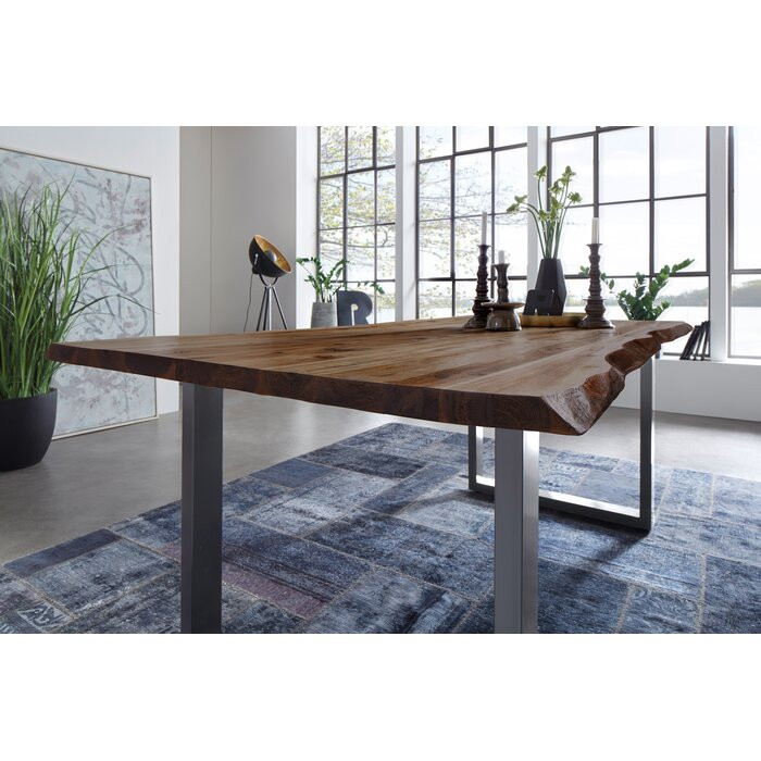 Masa Langford, metal/lemn, maro, 140 x 80 x 77 cm