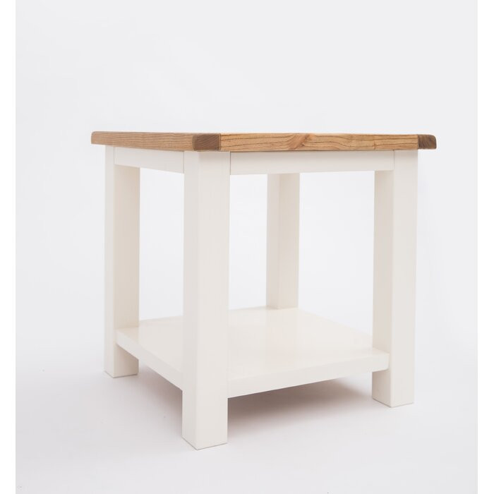 Masa laterală, alba/maro, 53 x 53 x 53 cm 2021 chilipirul-zilei.ro