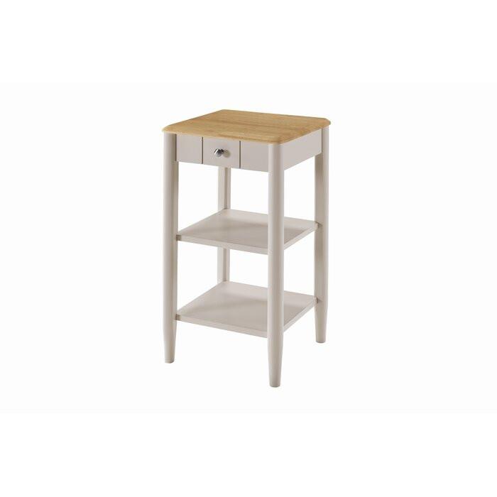 Masa laterala Brentwood, lemn, gri/maro, 74 x 38 x 38 cm