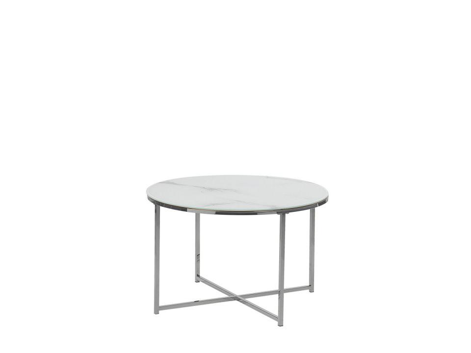 Masuta de cafea QUINCY, metal/sticla, argintie/alba, 45 x 70 x 70 cm imagine 2021 chilipirul zilei