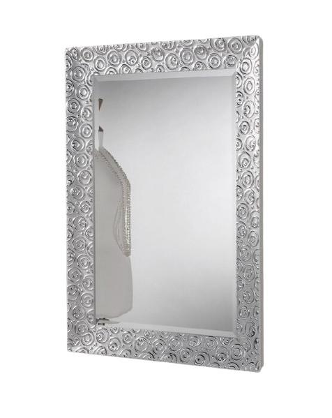 Oglindă Accent, cadru lemn alb/ argintiu, 94,5 x 69 cm imagine chilipirul-zilei.ro